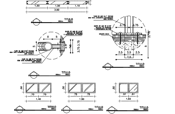 Window plan and section detail dwg file