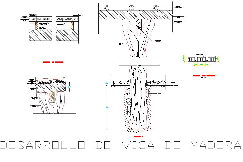 Wood beam development plan detail dwg file