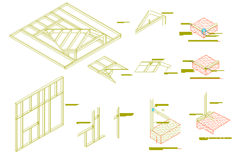 Wood joint detail for door in isometric view