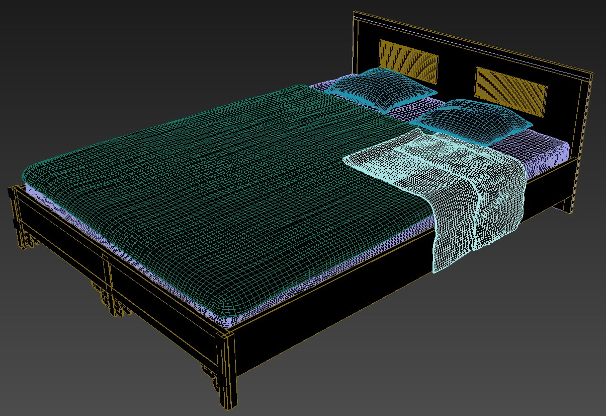 Wooden Double Bed Design Latest 3D MAX File