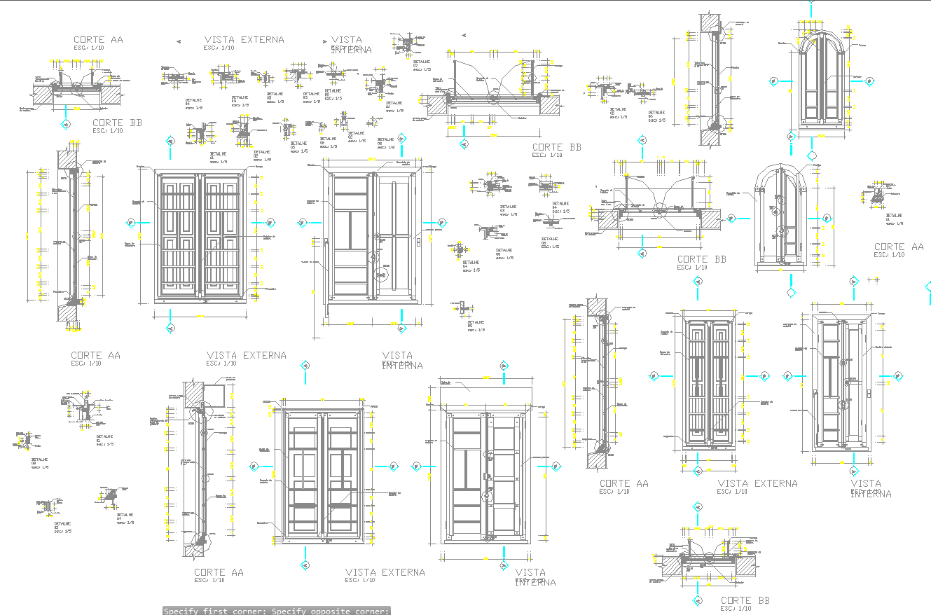 Wooden door opening detail and sectional plan in autocad dwg files