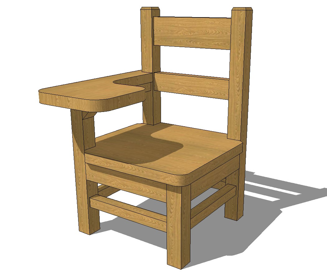 Wooden student chair 3d elevation cad drawing details skp file