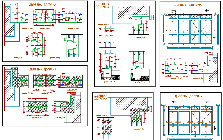 Wooden window installation of building dwg file