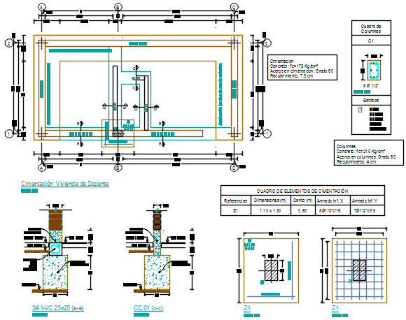 Working Commercial foundation plan detail dwg file