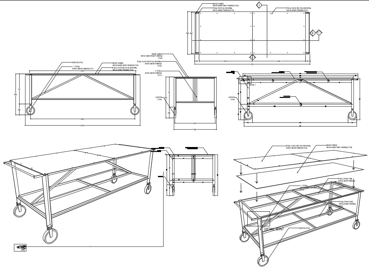 Working Table Desk DWG File