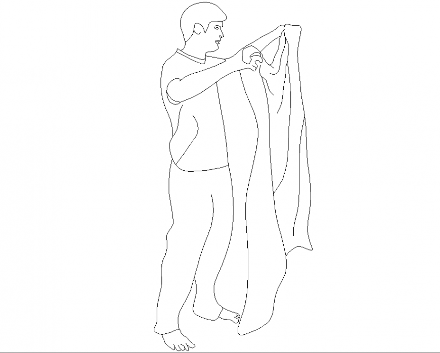A man with a cloth plan detail dwg file.