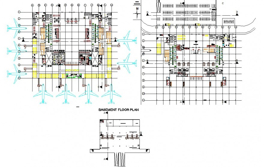 Airport structure detail 2d view CAD construction block layout file in dwg format