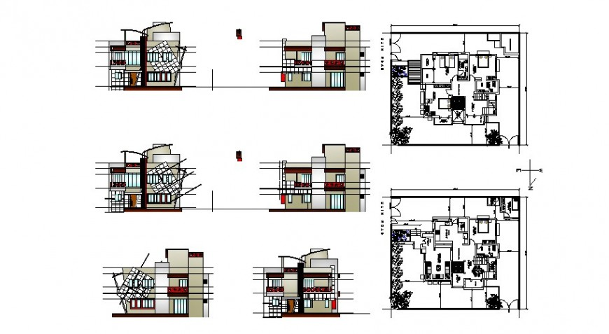 All sided elevation and floor plan layout details of house cad drawing details dwg file
