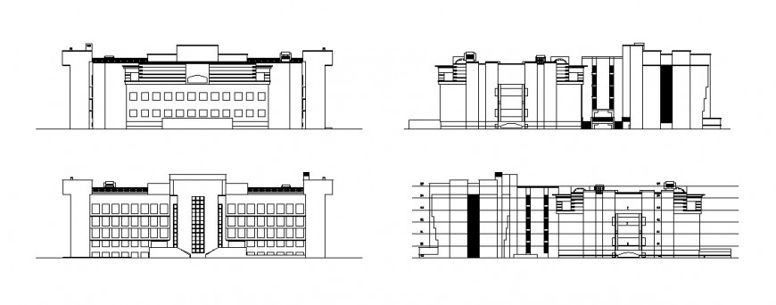 All sided elevation and lateral section drawing details of education building dwg file