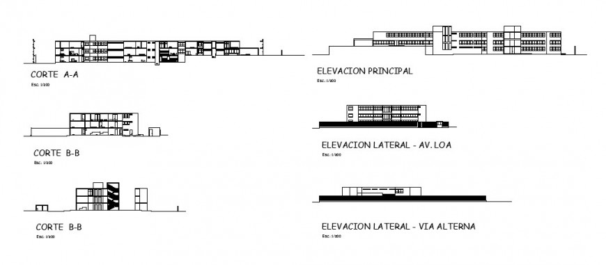 All sided elevation and sectional details of hospital center building dwg file