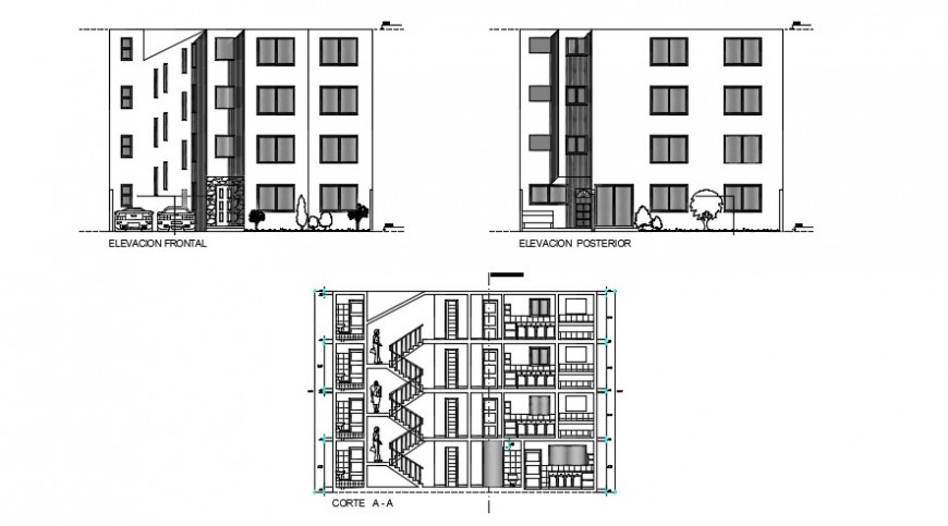Apartment 2d front and  side elevation detail dwg file
