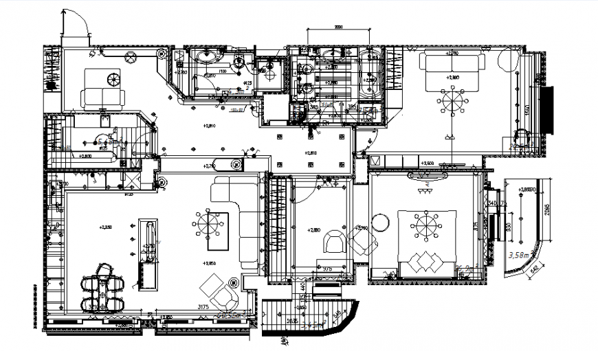 Architect ceiling design house planning dwg file