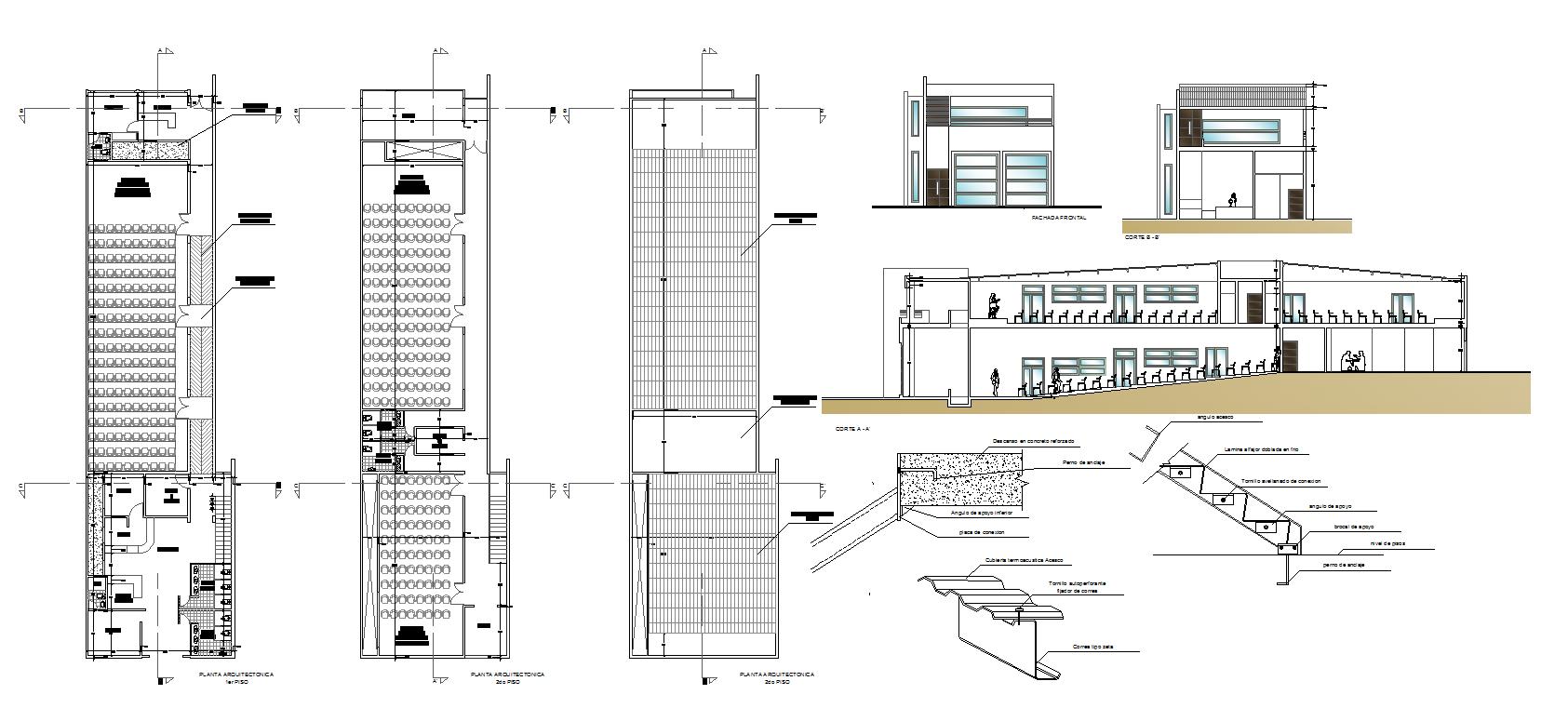 architectecture plants of auditorium  Design Cad File