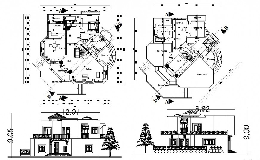 Architecture residence bungalow drawing cad file
