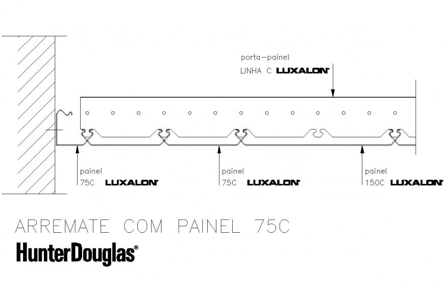 Arremate com panel 75C section autocad file