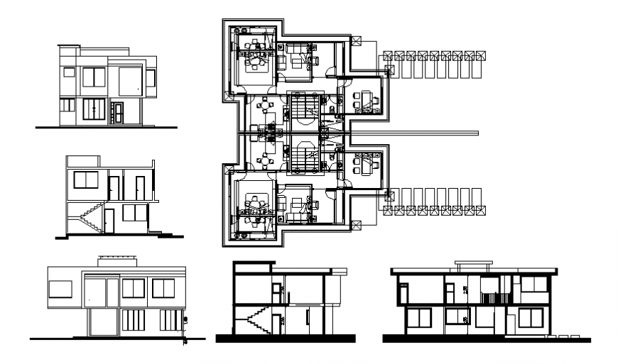 Attached multi families plan, elevation and section autocad file