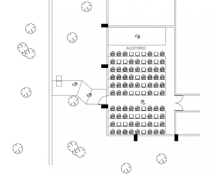 Auditorium building room plan 2d view autocad file
