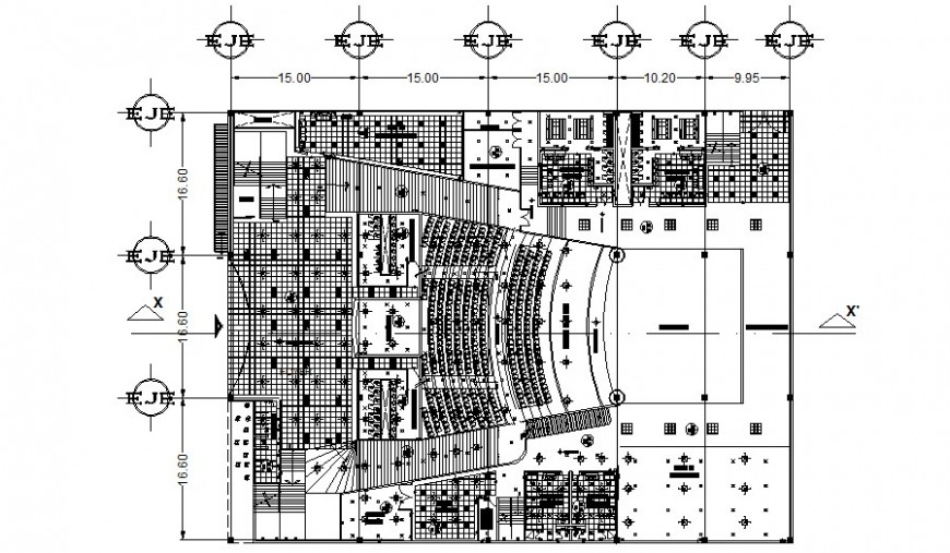 Auditorium building work plan 2d drawing in autocad