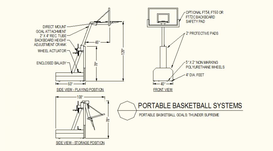 Basket-ball goal detail plan detail autocad file
