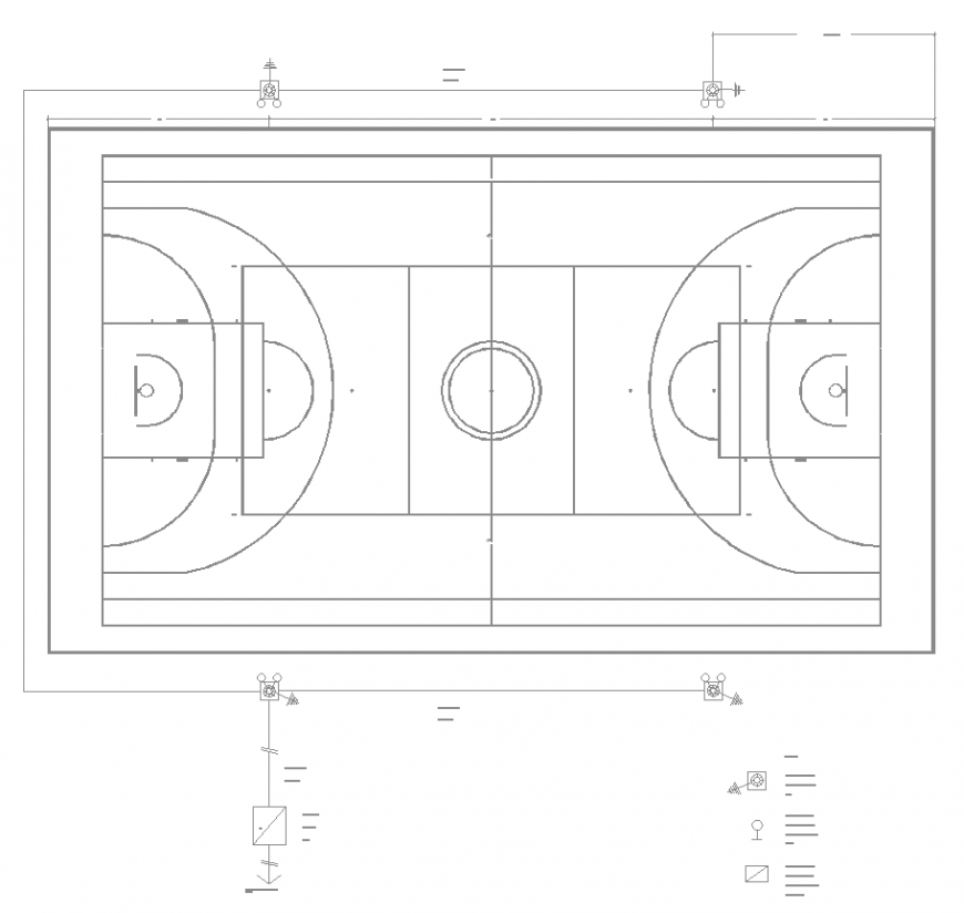 Basket ball court detail drawing in dwg file.