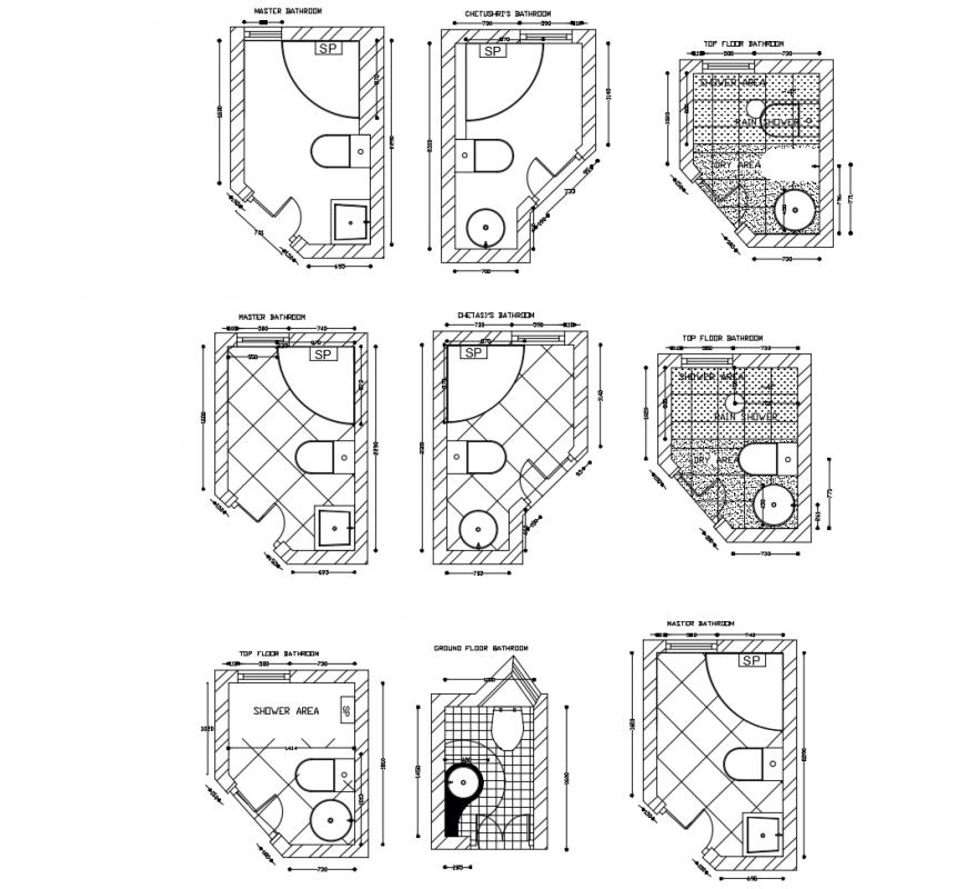 Bathroom floor plan in auto cad software - Cadbull