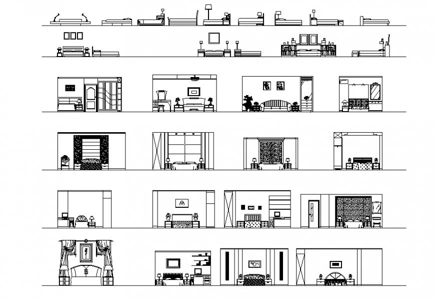 Bed Room Furniture Plan & Elevation design.
