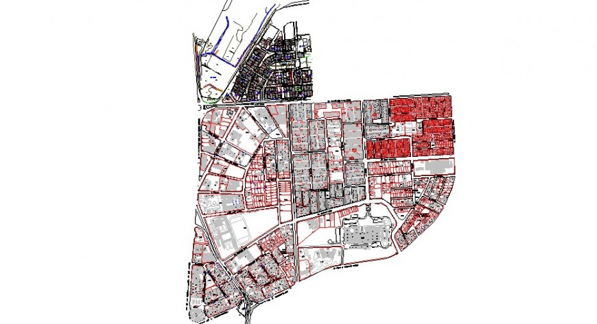 Big city town planning and architecture map cad drawing details dwg file