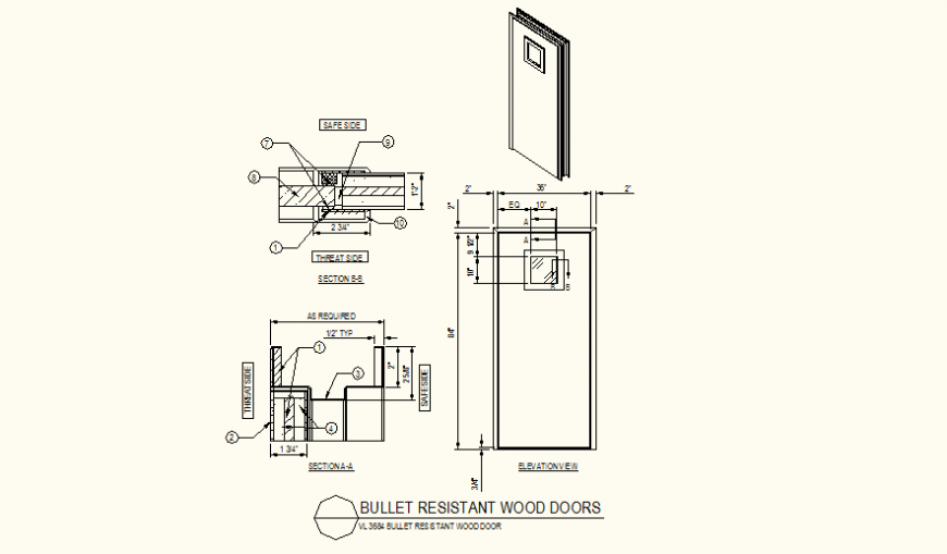 Bullet proof glass door detail plan and section dwg file