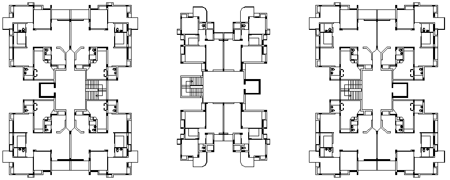 Unit plan of Flat design drawing