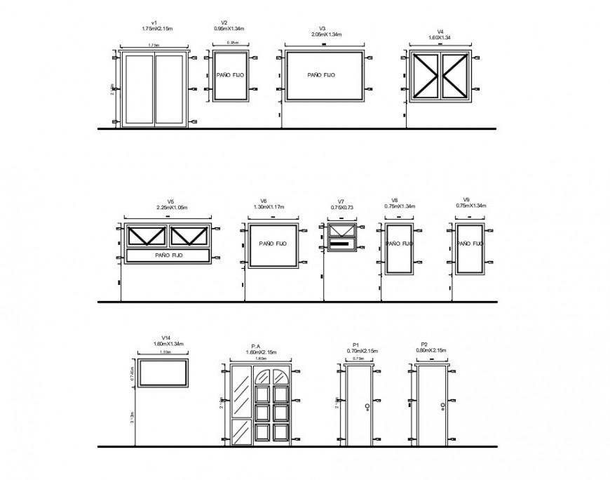 CAD drawings details of door window block 2d view elevation dwg file