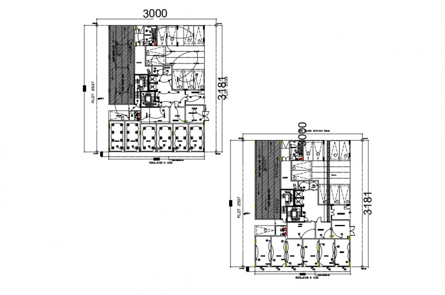 CAD plan detailing drawings of building electrical layout dwg file