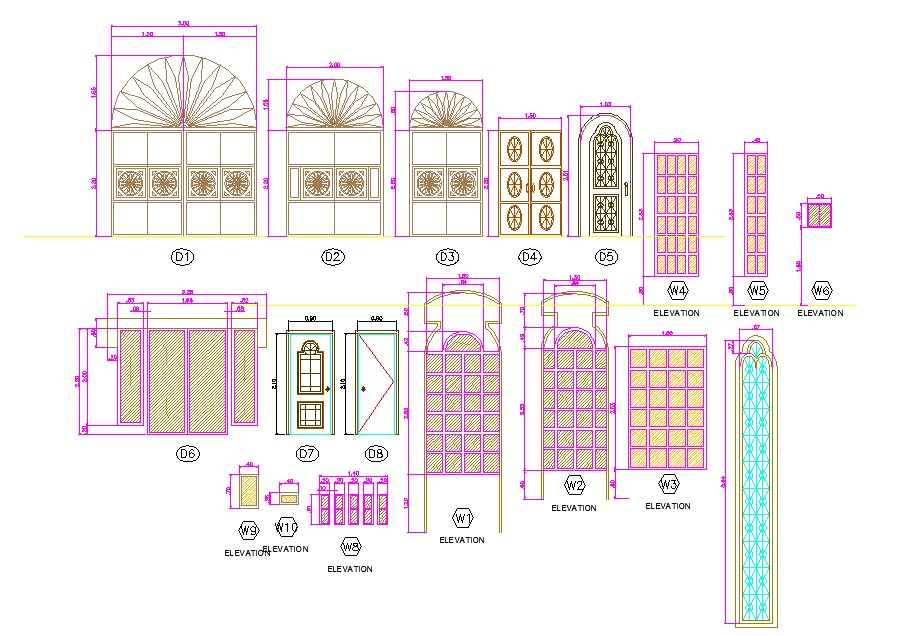 Jali Design Of Door And Window In Autocad Files