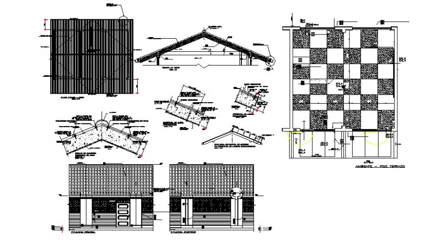 Classroom elevation and roof construction details of school building dwg file