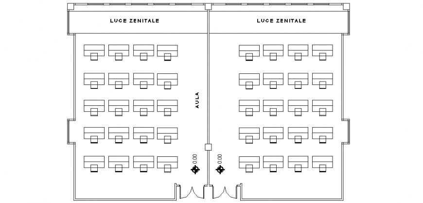 Classroom plan with architecture view dwg file