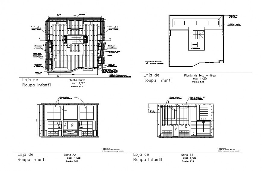 Clothes store section, plan, interior and furniture cad drawing details dwg file