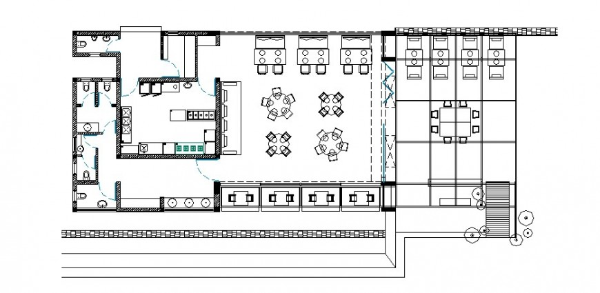 Coffee bar building detail working plan 2d view autocad file