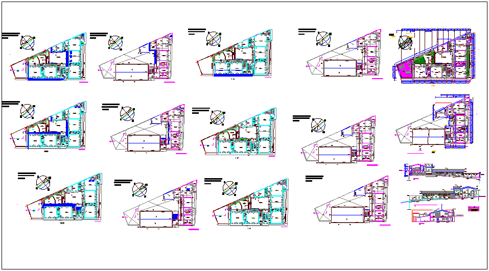 collage plan view with elevation and interior view with door and window view dwg file