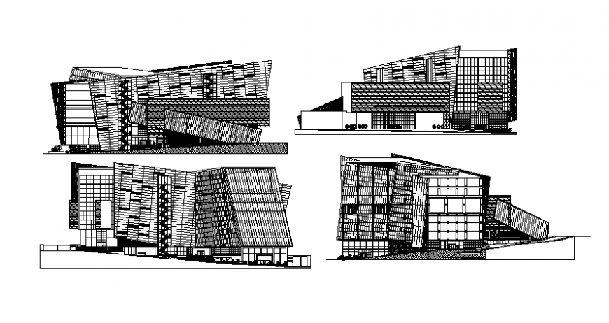 Commercial building hub drawings 2d view elevation dwg file