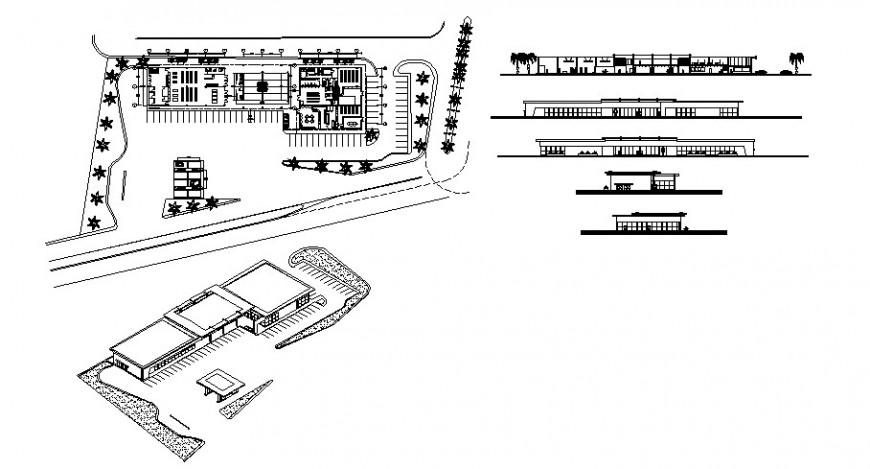 Commercial centre floor plan elevation and isometric view in auto cad