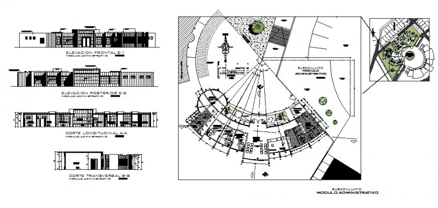 Connection center office building elevation, section and plan cad drawing details dwg file