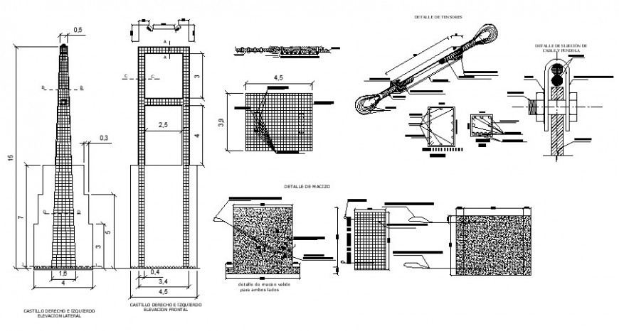 Construction of tower detail 2d view CAD structural block autocad file