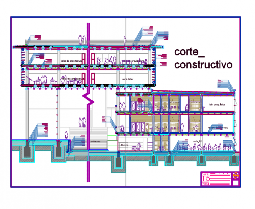 Corporate office building constructive sectional details dwg file