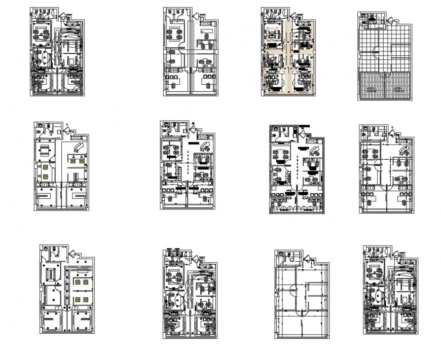 Corporate office building floor plan and sanitary installation cad drawing details dwg file
