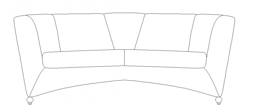 Couch type sofa set elevation block drawing details dwg file