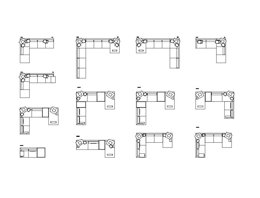 Creative l shape multiple corner sofa sets cad blocks design dwg file