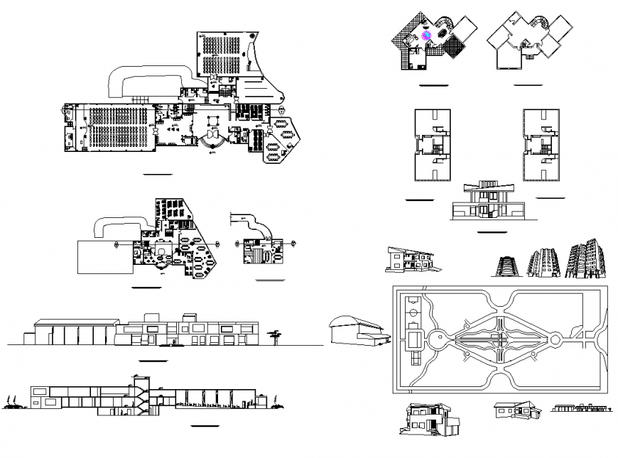 Detail Coffee shop building elevation and plan 2d view layout file
