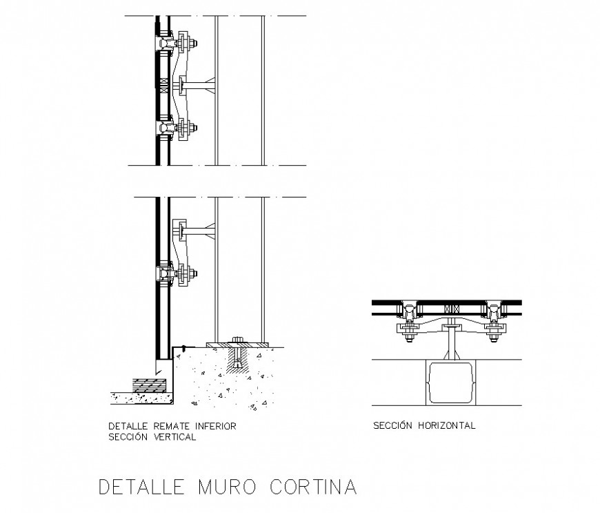 Detail Of Curtain Wall Structure 2d View CAD Constructive