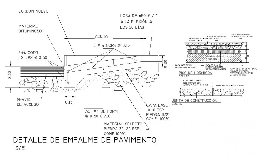 Detail of pavement joint section autocad file