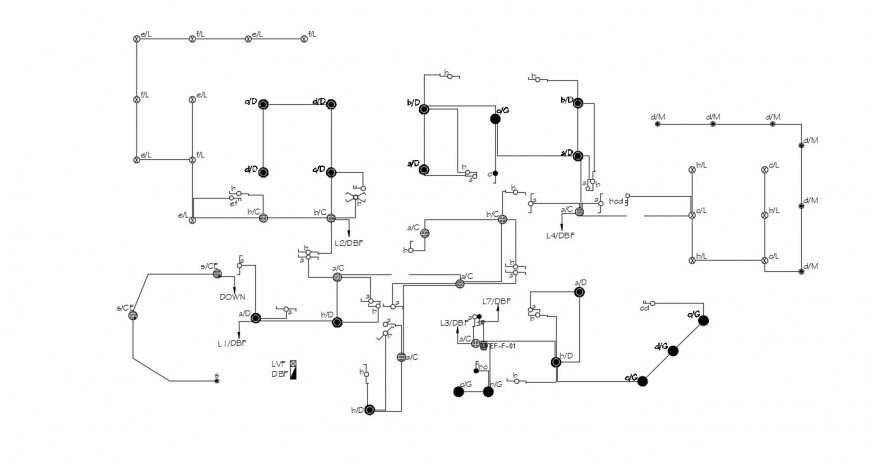 Detailing Of Circuits Flow Diagram 2d Plan Dwg Autocad