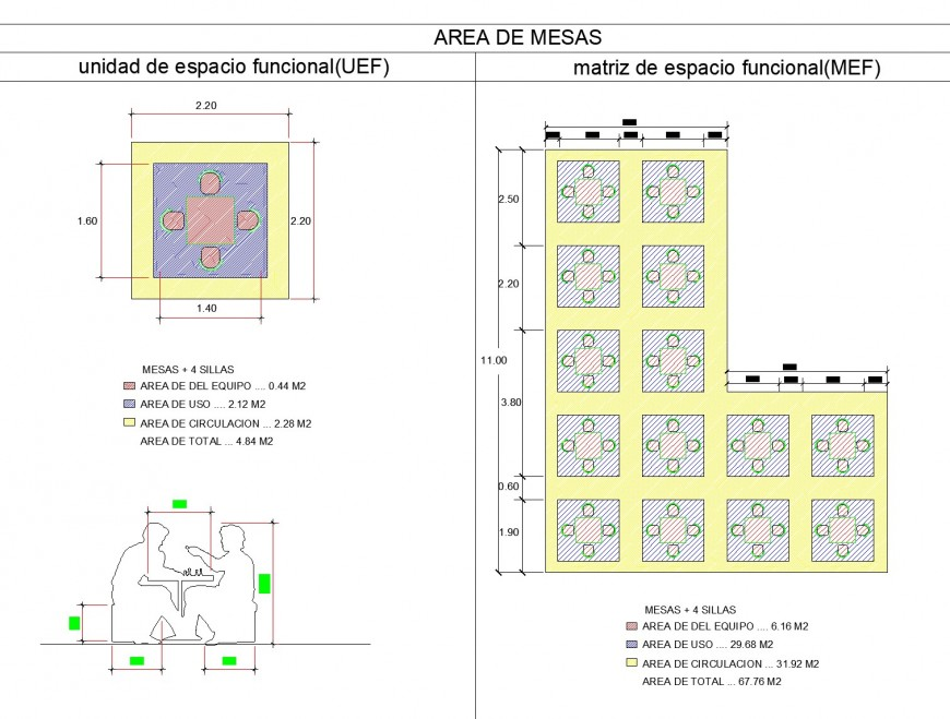 Dining table area plan detail dwg file